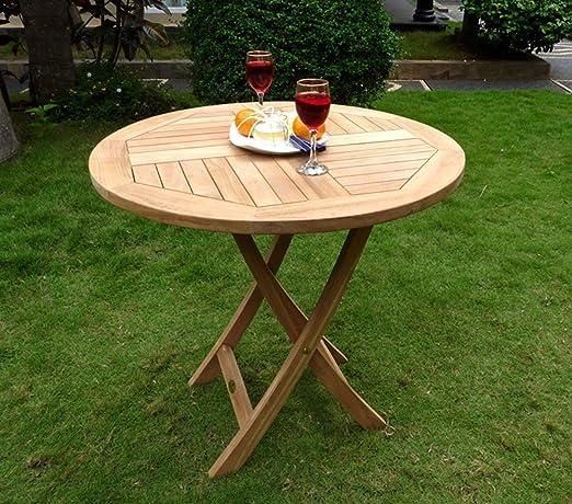 Mesa plegable para jardín estructura de madera en bruto, 70 cm de diámetro: Amazon.es: Hogar