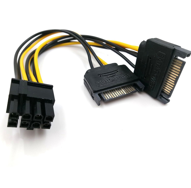 8-Pin (6+2) PCIe to 2xSATA Power Cable 6 Inches (8 pin to dual 15 pin) JBingGG 並 行 輸 入 品