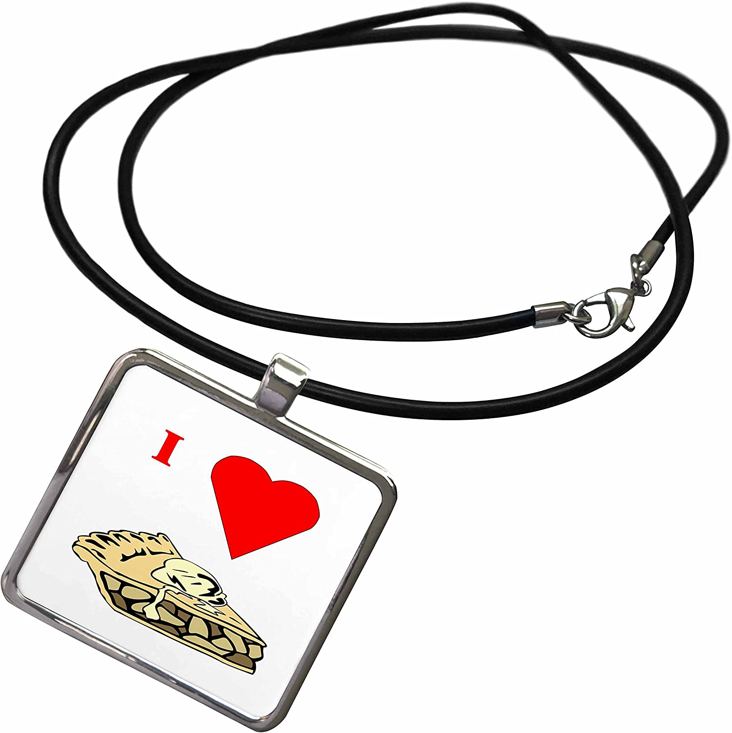3dRose Florene Food n Beverage - Love Apple Pie - Necklace with Rectangle Pendant (ncl_60654)