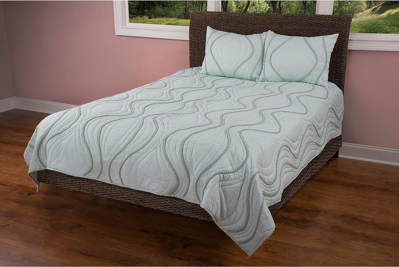 Rizzy Home Quilt in Aqua (Queen)