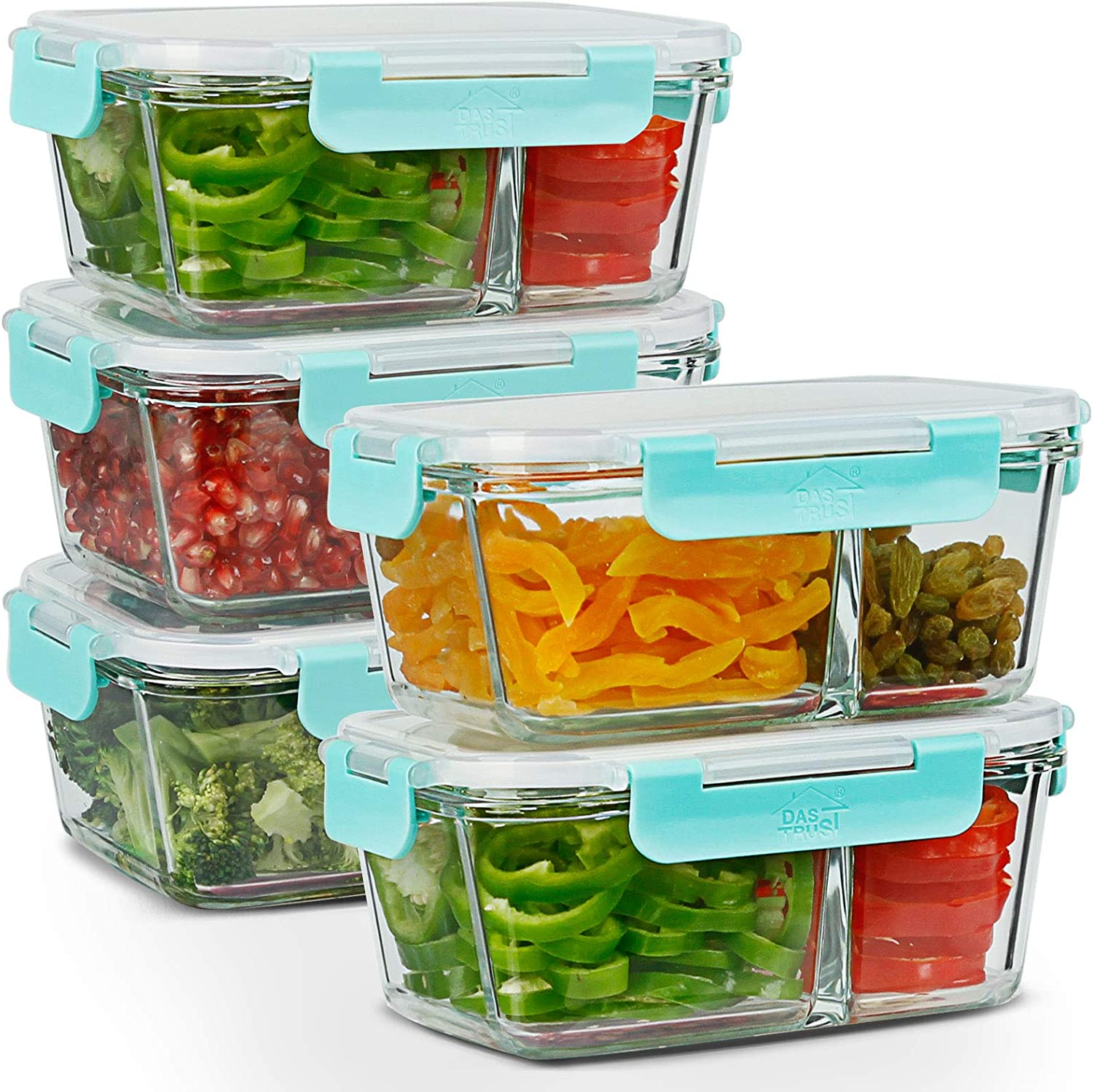 5 Pack 35.5oz Meal Prep Containers 2 Compartments Portion Control with Leakproof Lids Glass Food Storage Containers Bento Boxes Lunch Containers with Leakproof Lids, Oven Freezer Dishwasher Safe