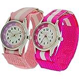 2 x Montre Reflex Pédagogique Enfant Fille Bracelet Velcro Rose / Rose Vif