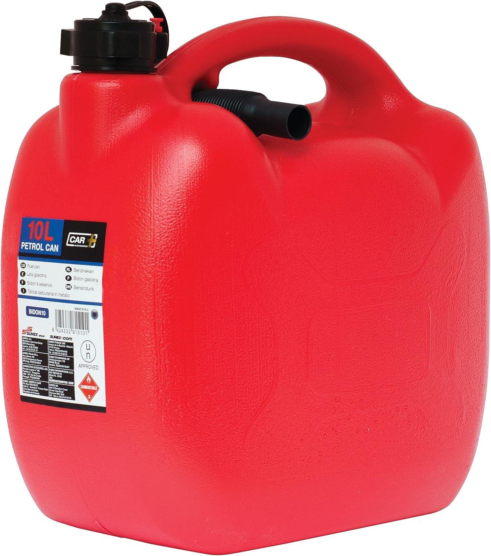 color Rojo Sumex CAR+ Bidon05 Bid/ón Gasolina de pl/ástico con Tubo Flexible 10 Litros