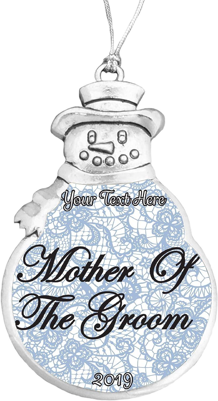 Mother of the Groom Wedding Gift 2019 Christmas Ornament Snowman Snowflake Bulb
