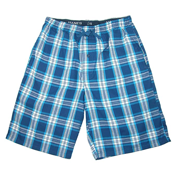 Hanes Men s Cotton Madras Drawstring Sleep Pajama Shorts at Amazon ... e31262a16