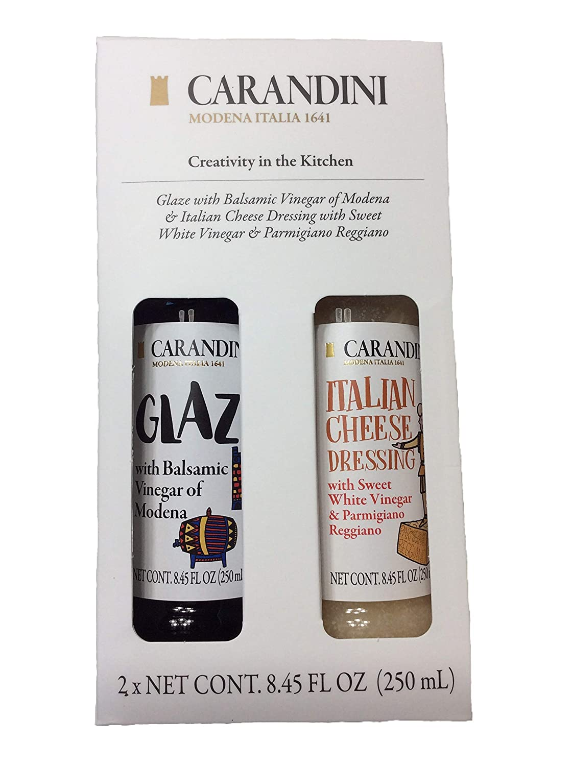 Glaze with Balsamic Vinegar of Modena & Italian Cheese Dressing with Sweet White Vinegar/Parmigiano Reggiano Gift Pack