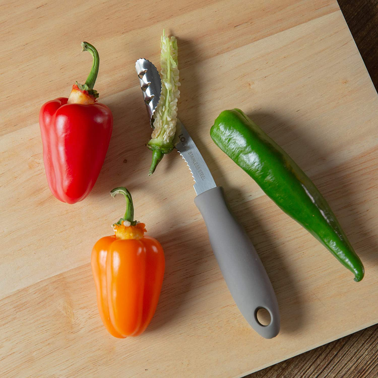 Stainless Steel 8 Jalapeno Pepper Corer with Soft Grip Handle