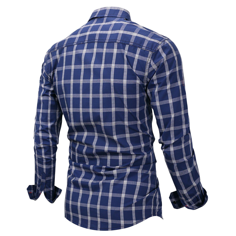 CLOTPUS Mens Cotton Long Sleeve Casual Collared Button Down Plaid Shirts Regular Fit