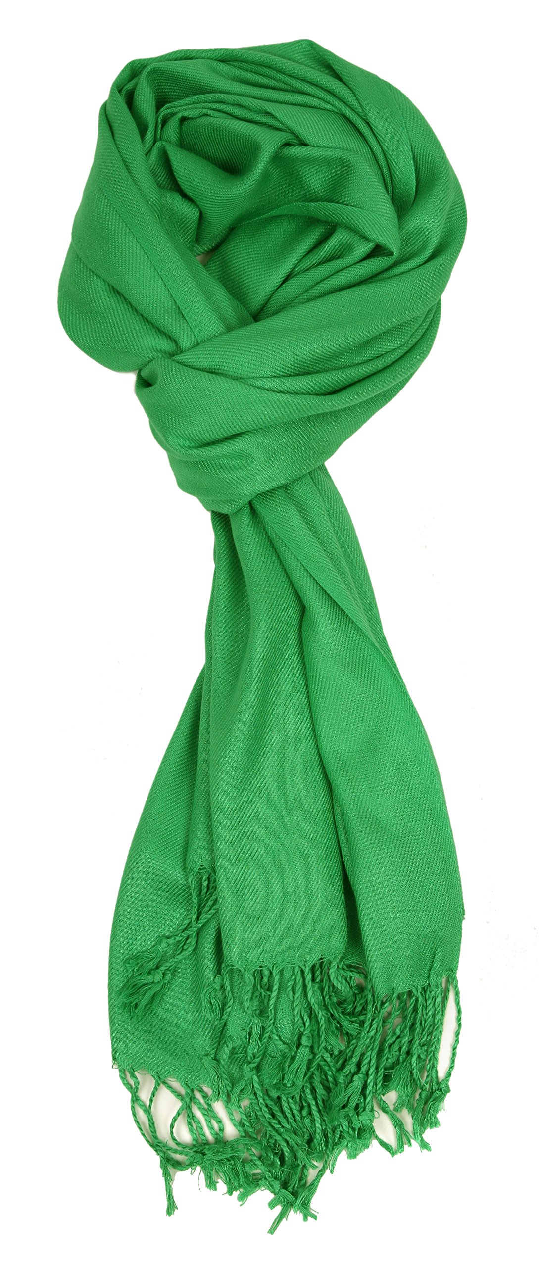 Love Lakeside-Large, Soft, Silky Pashmina Shawl, Wrap, Scarf in Solid Colors of Kelly Green