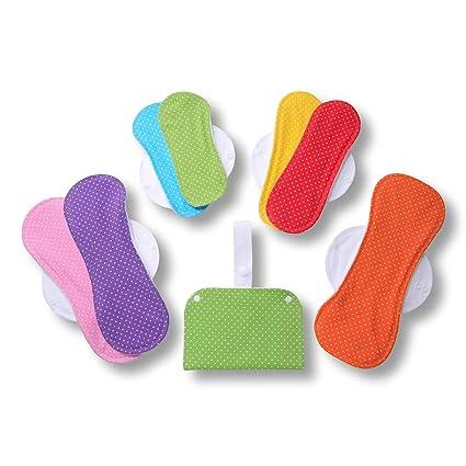 Compresas de tela reutilizables, pack de 7 compresas ecologicas de algodón puro con alas;