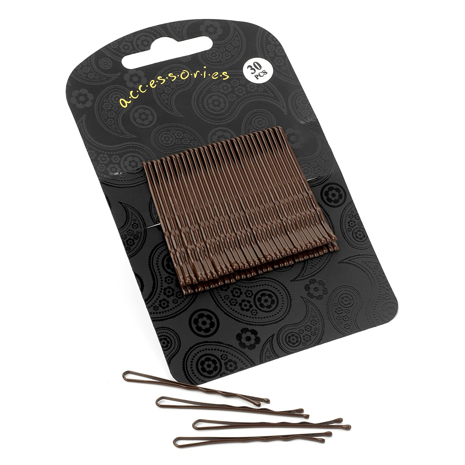 30 Short Hair Bobby Pins Hair Grip Set Brown 5cm HA28500