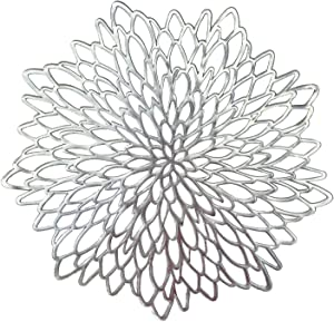 Occasions 20 Pieces Pack Pressed Vinyl Metallic Placemats/Wedding Accent Centerpiece Placemat (Silver Leaf)