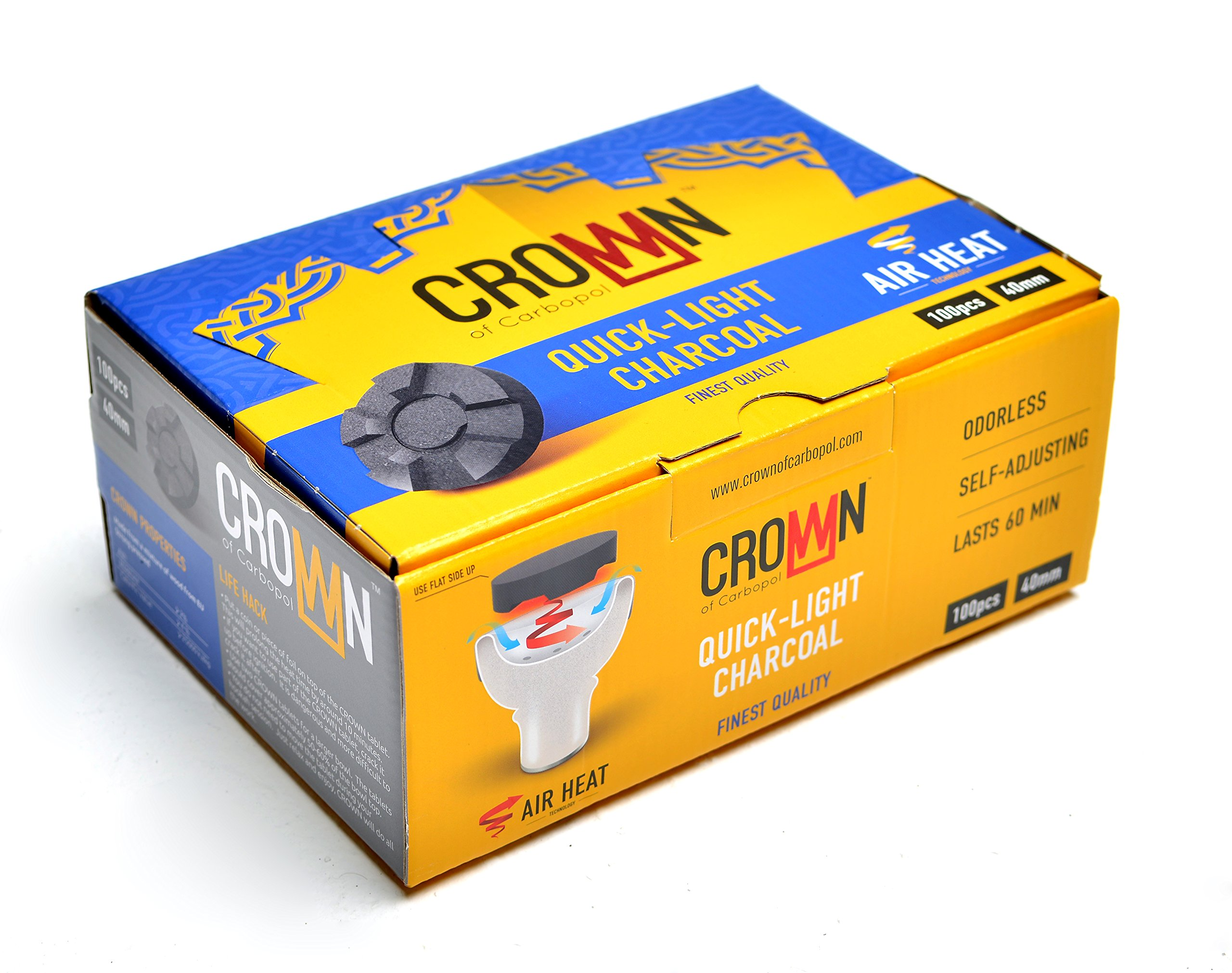 Crown Charcoal with Air Heat Technology - 100pc Large 40mm