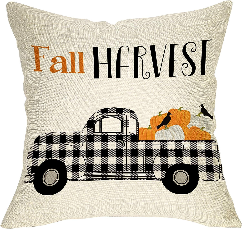 "Softxpp Fall Harvest Decoration Autumn Farmhouse Throw Pillow Cover Plaid Truck Pumpkin Sign Thanksgiving Day Harvest Home Decor Cushion Case Decorative for Sofa Couch 18"" x 18"" Cotton Linen"