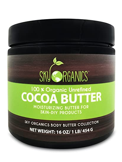 Organic Cocoa Butter By Sky Organics: Unrefined, 100% Pure Raw Cocoa Butter 16oz