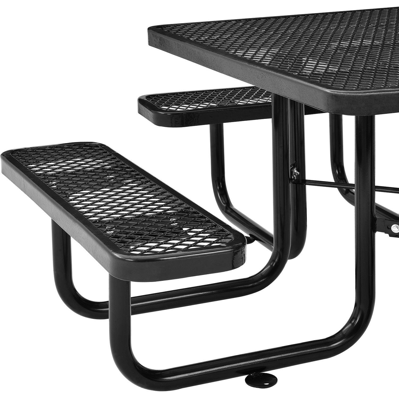 46 Expanded Metal Square Picnic Table, Black