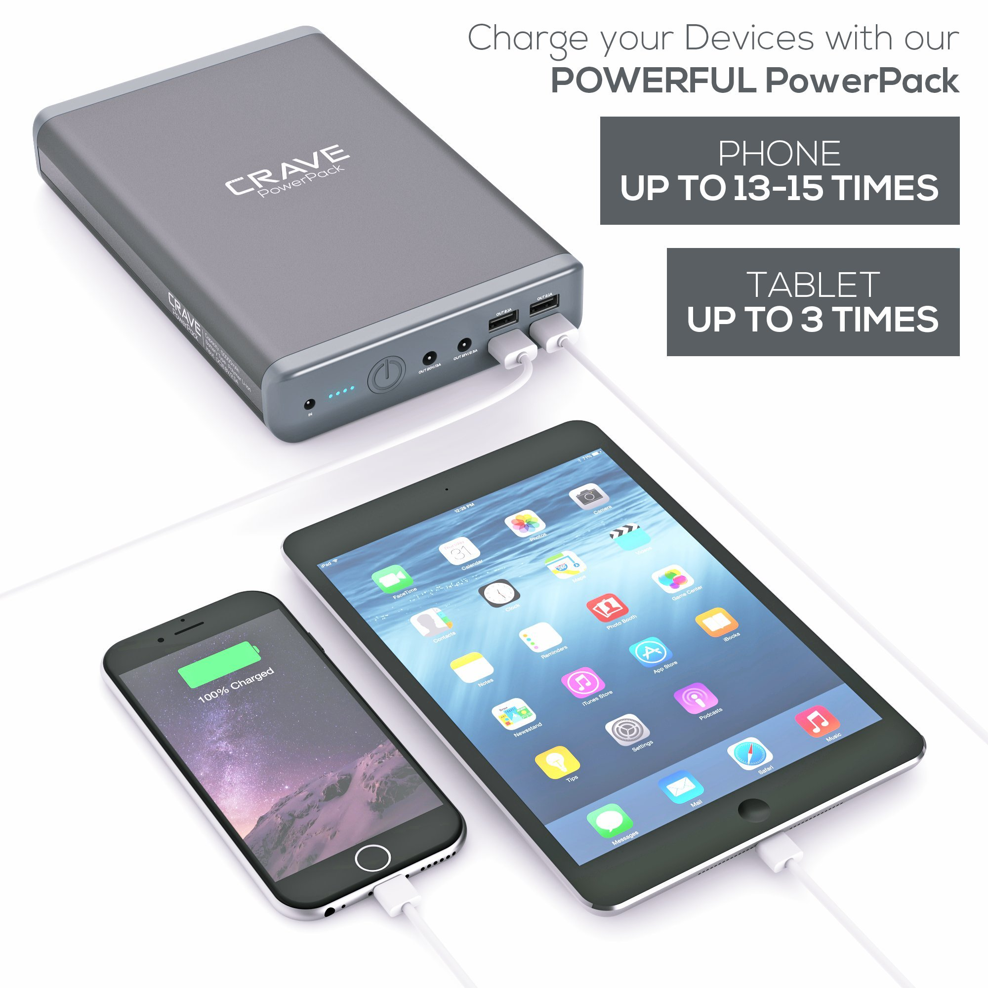 Crave PowerPack CRVPP101 50000 mAh,Dual USB and Dual Laptop Ports Ultra-High Density Portable Power Bank by Crave (Image #6)