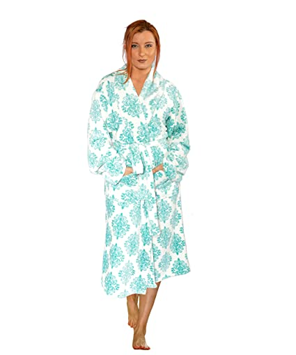 Image Unavailable. Image not available for. Color  Home Soft Things Men    Women Bathrobe Printed Flannel Fleece ... 20aabb59b