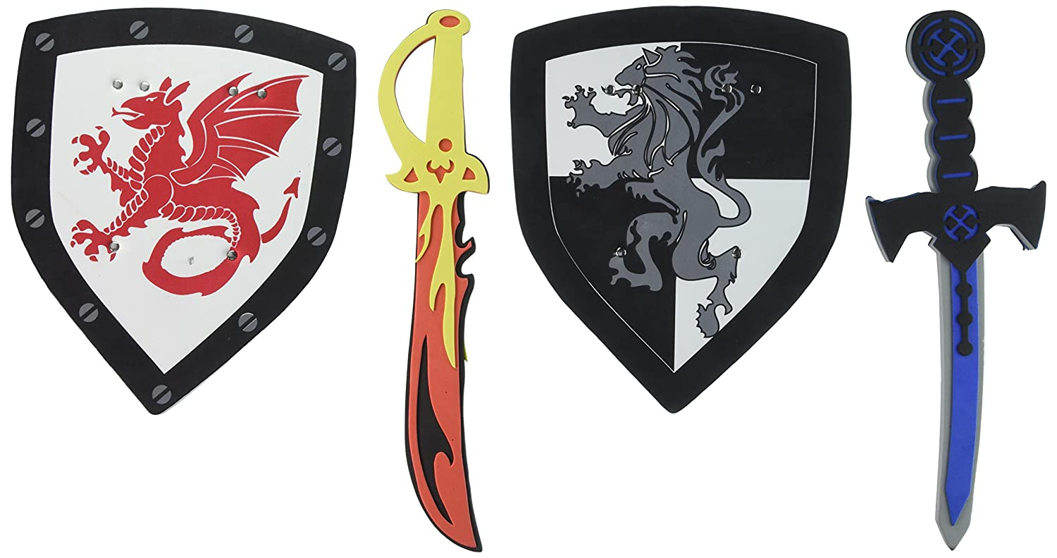 Super Z Outlet Children's Foam Toy Medieval Joust Dual Dragon Sword & Shield Knights Set Lightweight Safe for Birthday Party Activities, Event Favors, Toy Gifts