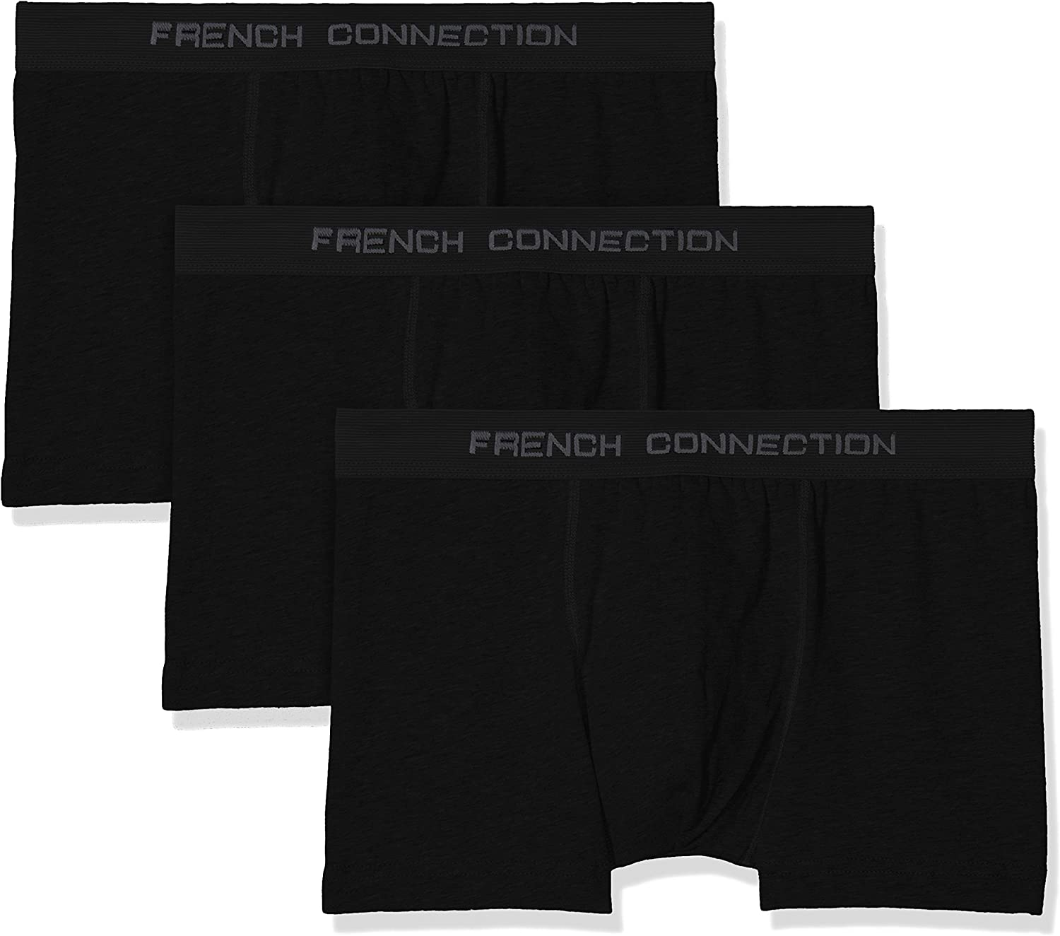 French Connection 3-Pack Stretch Cotton Men's Boxer Trunks, Black