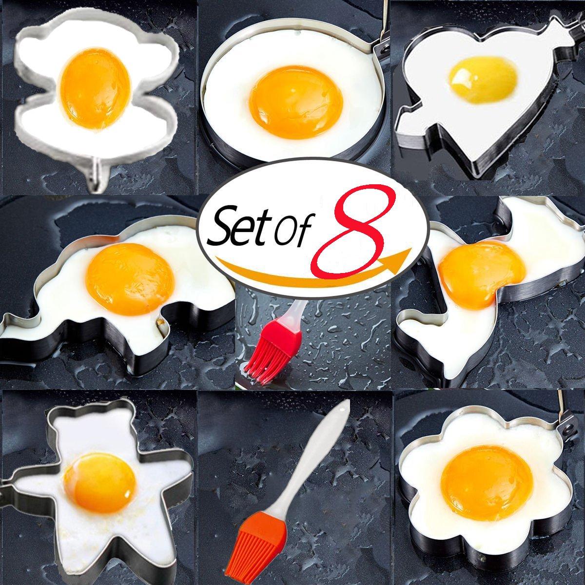 kiyogoods Fried Egg Mold 8PCS Ring Pancake Cooker Nonstick Stainless Steel Frying Cooking Baking, Egg Shaper Pancake Maker with Handle, monkey elephant pony bear kids love eggs kitchen tool (#1)