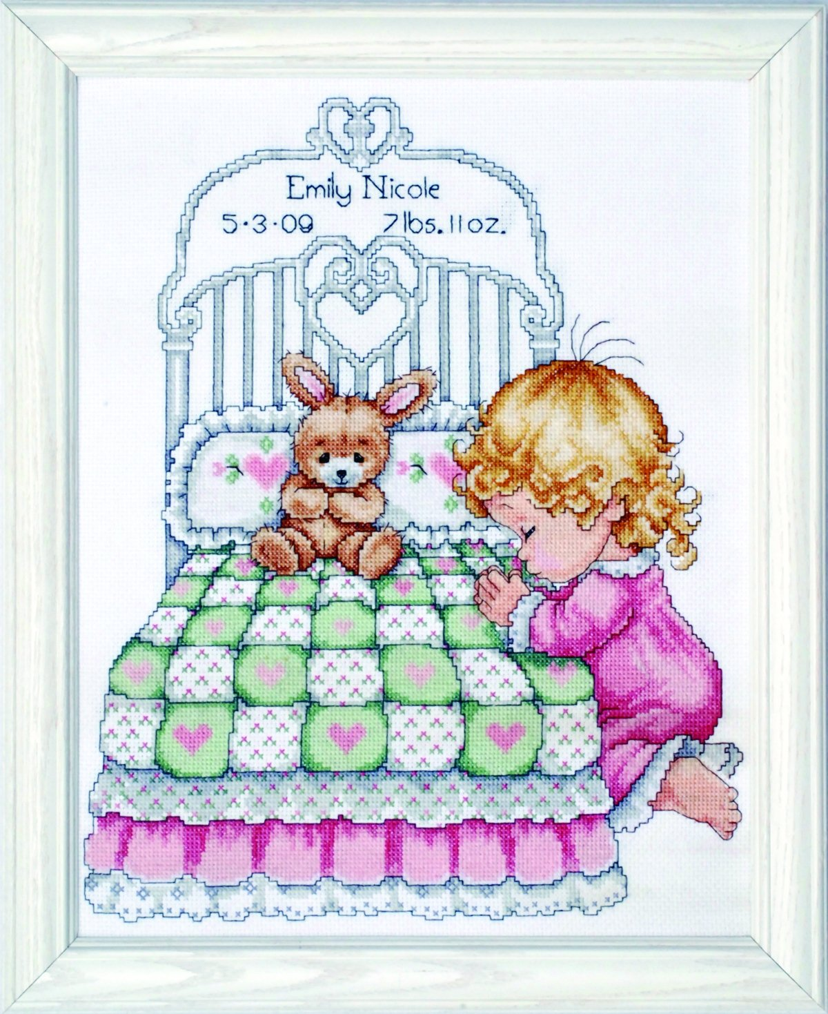 Tobin 14 Count Bedtime Prayer Girl Birth Record Counted Cross Stitch Kit, 11 by 14-Inch T21709
