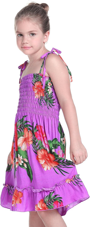 Girl Elastic Ruffle Hawaiian Luau Dress in Purple Floral