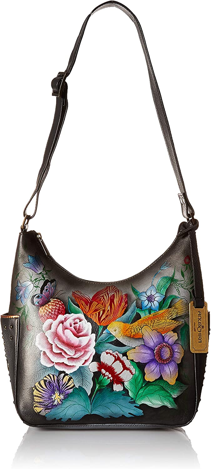 Anuschka Women's Genuine Leather Shoulder Bag | Hand Painted Original Artwork | Classic Hobo With Studded Side Pockets | Vintage Bouquet