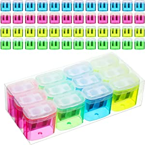 48 Pieces Pencil Sharpeners Manual Double Hole Pencil Sharpener with Lid Hand for School Office Home, Handheld Plastic Crayon Sharpener, Pink, Yellow, Green, Blue