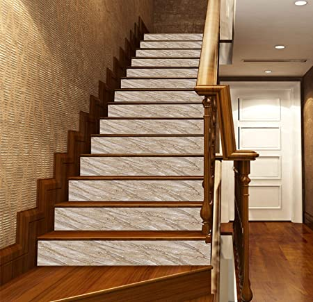 Papel pintado 3D de mármol gris LT3341 para escaleras de escalera, decoración de vinilo, Vinilo (sin pegamento y extraíble)., Gris, 13x H:18cm x W:102cm (7