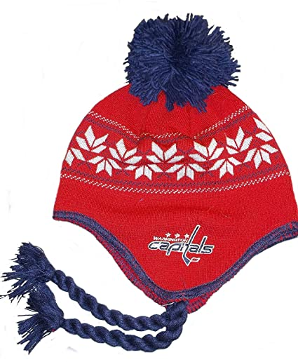 275d237380b Image Unavailable. Image not available for. Color  CCM Washington Capitals  Team Classics Tassel Knit with POM NHL Hat ...