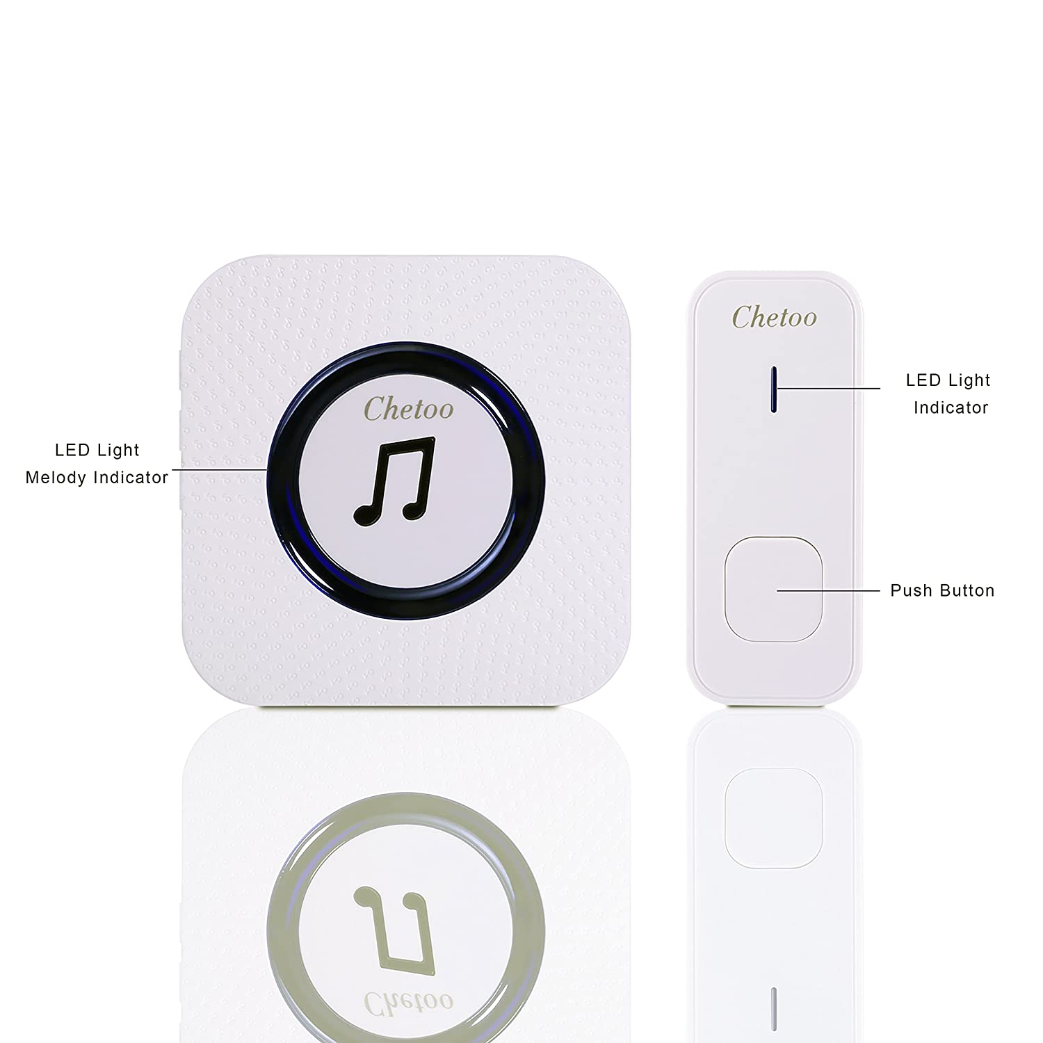 Chetoo Wireless Doorbell System Best Set Of 1 Plugin Long Range Wireless  Receiver + 1 Ip55 Waterproof Remote Push Button Top Remote Doorbell With  55