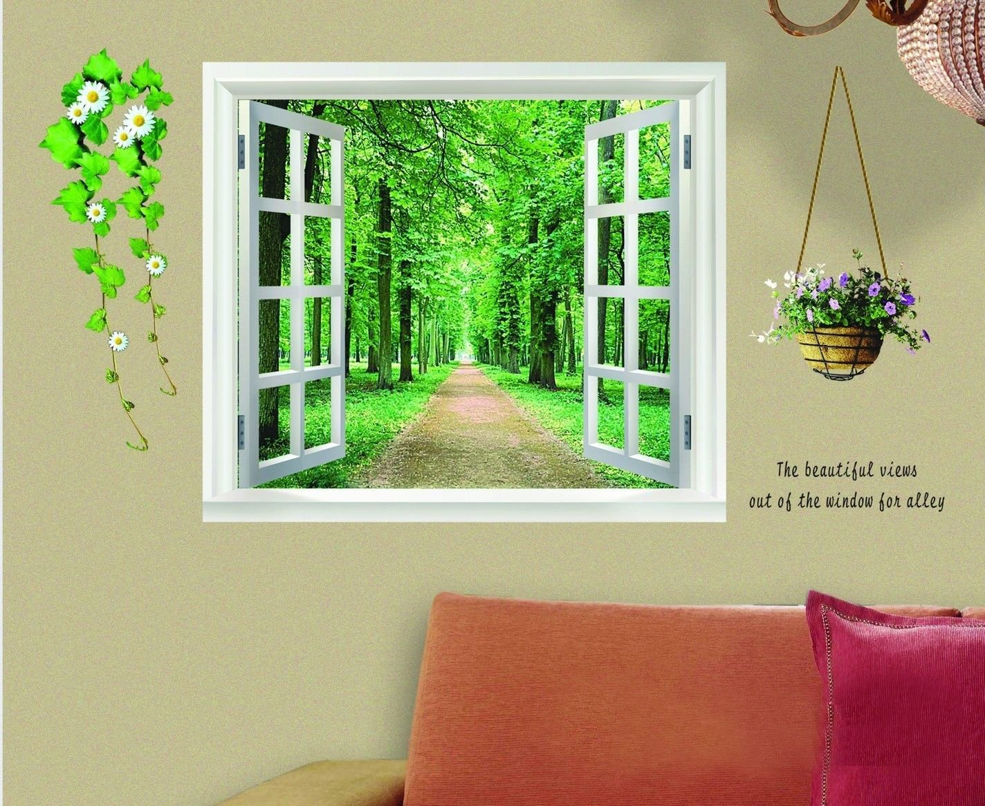 amazon com sodial r huge window 3d green view flowers plant wall amazon com sodial r huge window 3d green view flowers plant wall stickers art mural decal wallpaper home kitchen