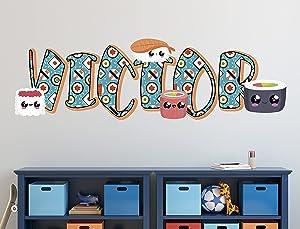 Sushi Wall Decal, Custom Name, Art Sushi Nursery Wall Sticker, 3D Print, Wallpaper 3D, Cute Sushi Home Decor Bedroom, Wall Art Smash KA545 (Large 44 W x 16 H in)