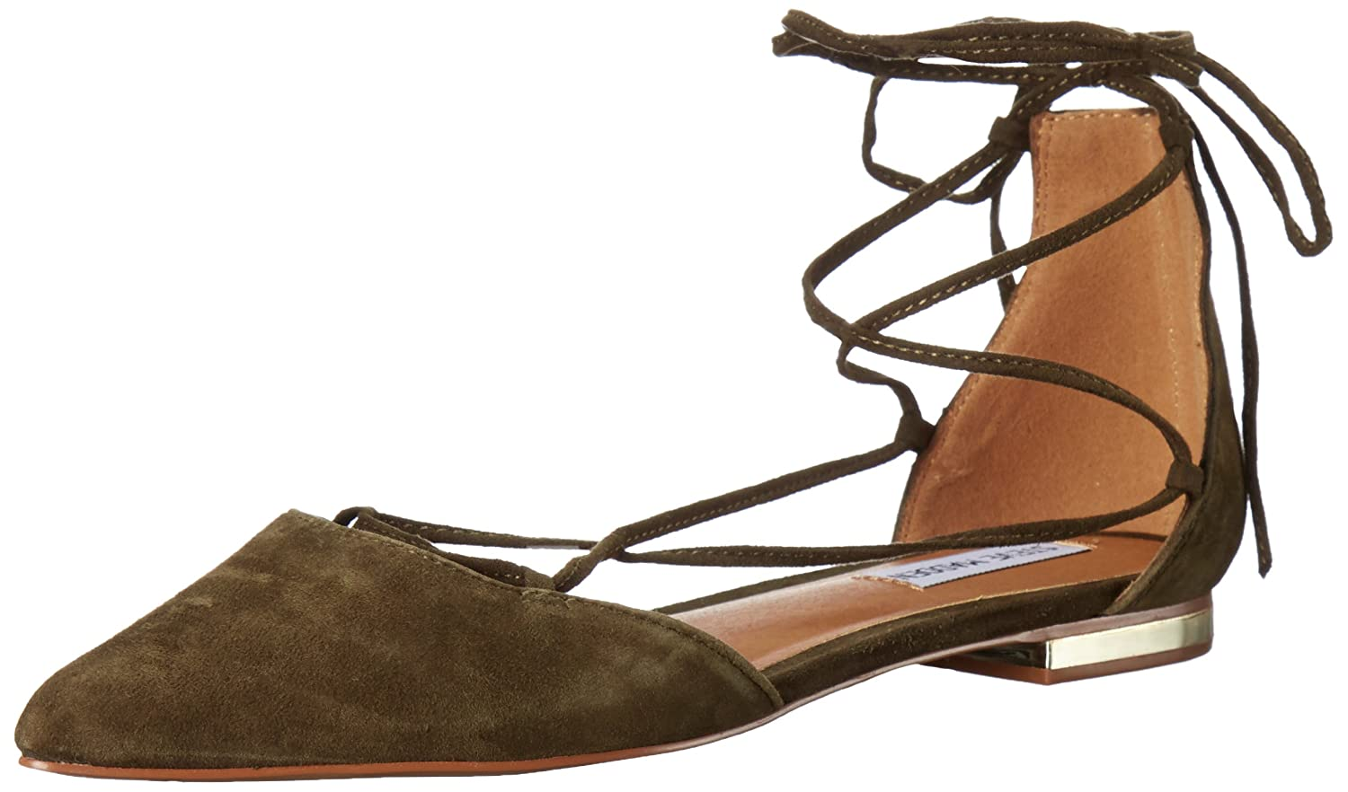 Steve Madden Women's Sunshine Pointed Toe Flat B01GFPMCO0 8 M US|Olive Suede