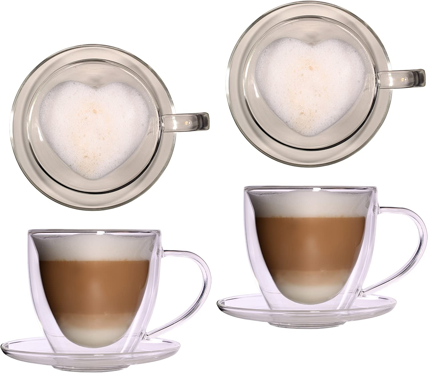 2x 350ml large double walled XL glass thermal heart cups with coasters noble and extra large glass teacup coffee cup with floating effect, glass