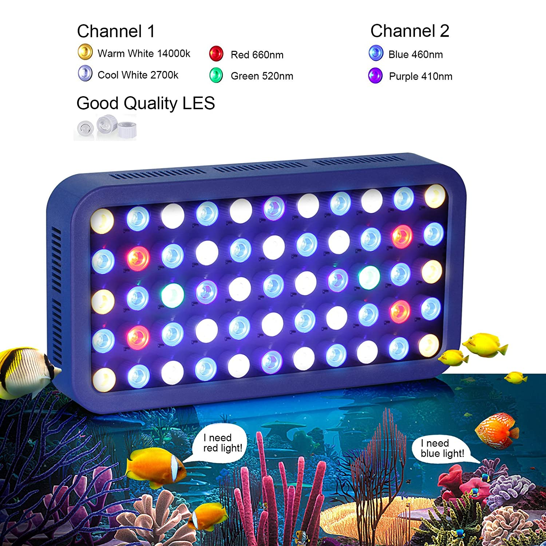 TOPLANET 165w Dimmable Led Acuario Iluminacion Marino Full Spectrum LED para Nano Pecera Coral Pescado Arrecife Planta Crecimiento