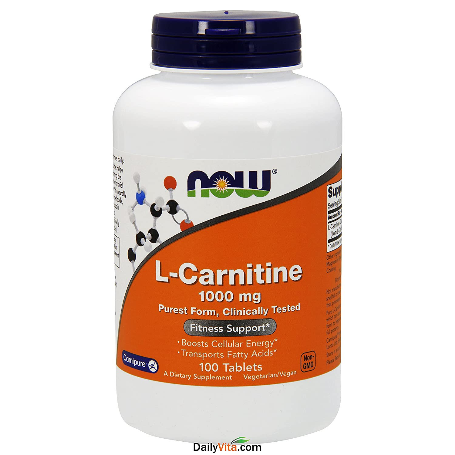 NOW Foods L- Carnitine Tartrate 1000mg, 100 Tablets Pack of 2
