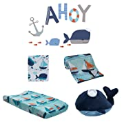 Lambs & Ivy Ahoy 5-Piece Crib Bedding Set - Aquatic Nautical Blue Whale