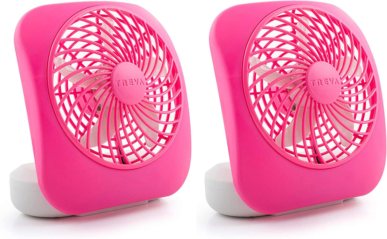 O2COOL Treva 5-Inch Portable Desktop Air Circulation Battery Fan | 2 Cooling Speeds, Compact Folding & Tilt Design, Raspberry-2 Units