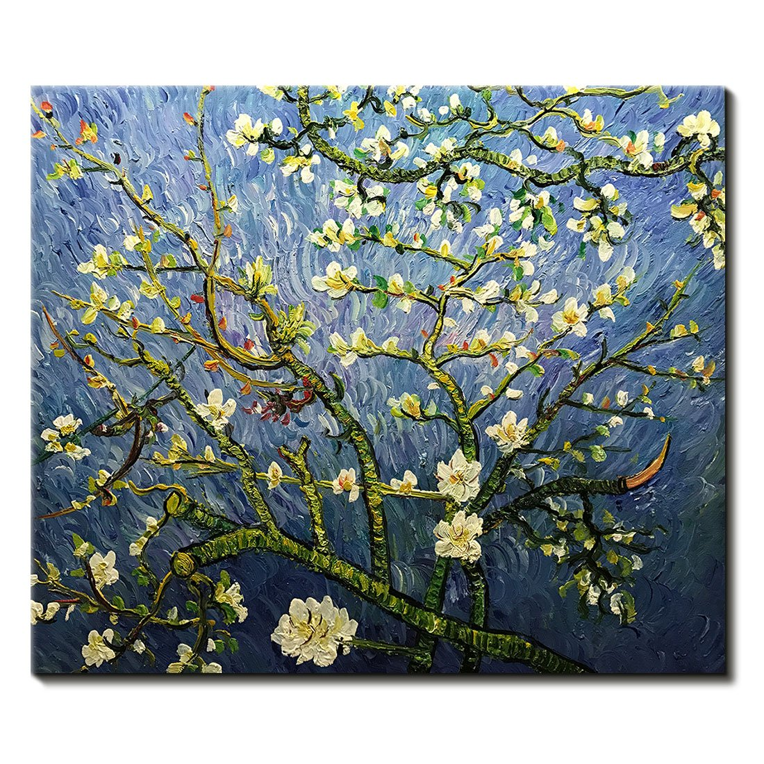 Amei Art Paintings,24x36Inch Sunflowers Van Gogh Oil Painting Reproduction Modern Hand-Painted on Canvas Flower Artwork Home Office Decor Wall Art Floral Pictures Wood Inside Framed Ready to Hang
