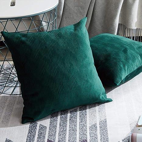 Topfinel Cojines Exterior de Terciopelo 2 Fundas de Cojines Decoracion con Ribete 45x45 cm, Almohada para Sofas, Camas, sillas Verde