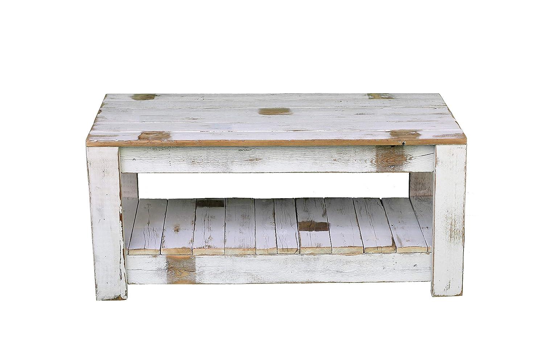 Amazon Com White Farmhouse Coffee Table With Shelf Handmade