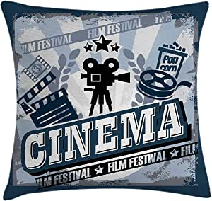 """Throw Pillow Cover, Movie Theater Throw Pillow Cushion Cover, Vintage Cinema Poster Design with Grunge Effect and Old Fashioned, Decorative Square Accent Pillow Case 22"""" x 22"""", Blue Black Grey"""