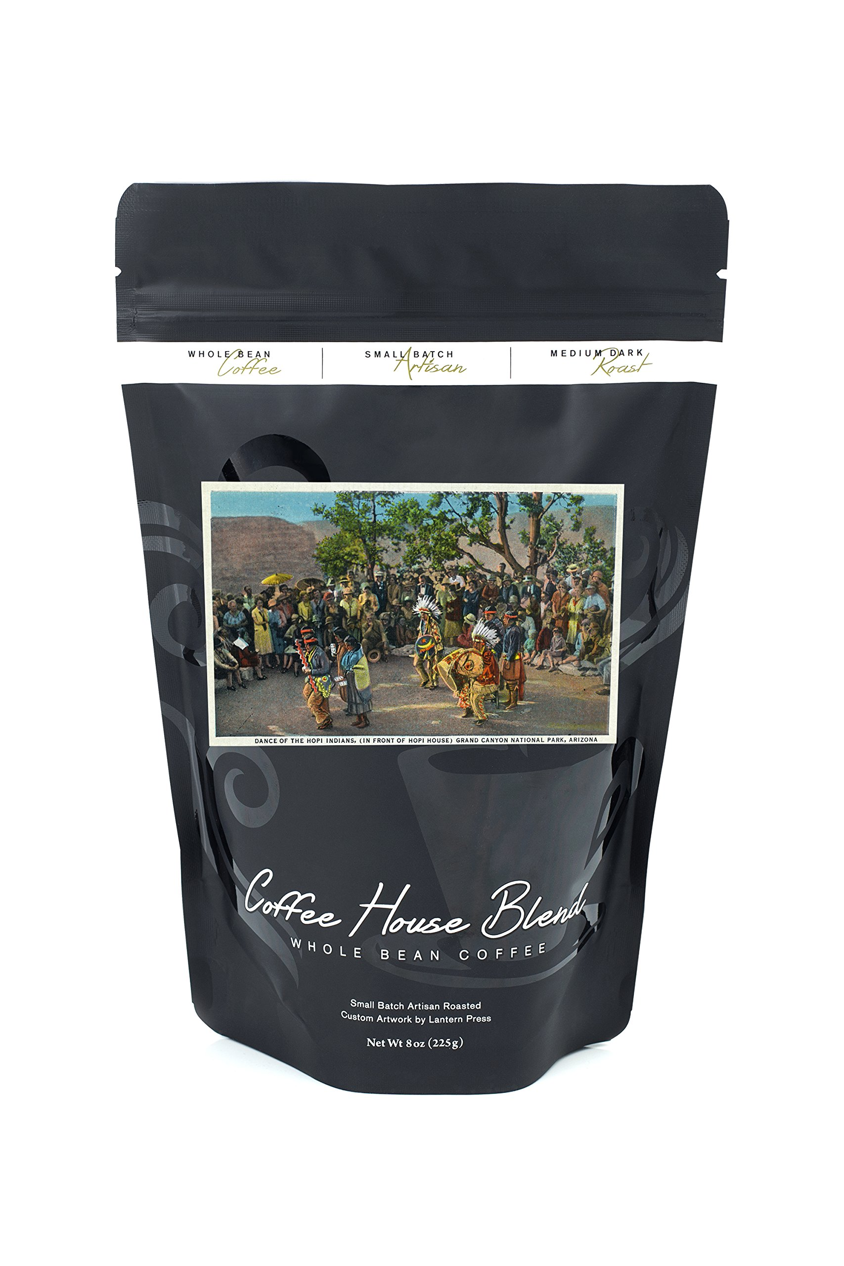 Grand Canyon National Park, Arizona - Dance of the Hopi in front of Hopi House (8oz Whole Bean Small Batch Artisan Coffee - Bold & Strong Medium Dark Roast w/Artwork)