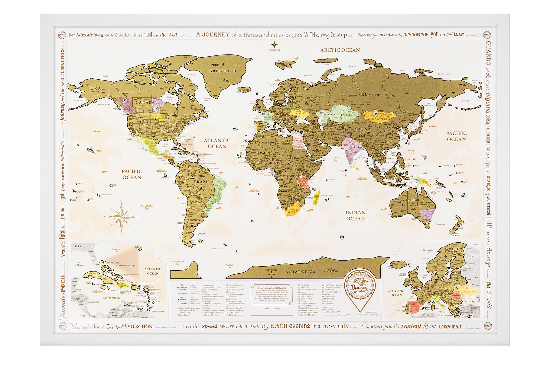 "NEW Framed World Map with Scratch off, Gold Edition! White Frame. Golden Scratch. Large Size 26x36.2"". Enlarged Europe and Caribbean Islands. Place for Your Sign. ORIGINAL (Map in White Frame) by Discovery Map"