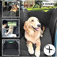 Pecute Cubierta de Asiento Impermeable de Coche para Mascotas - Manta el estilo Hamaca Dispositivo de Protección Antideslizante Protección de Mascotas Perros para Viajes(con cinturón de seguridad)