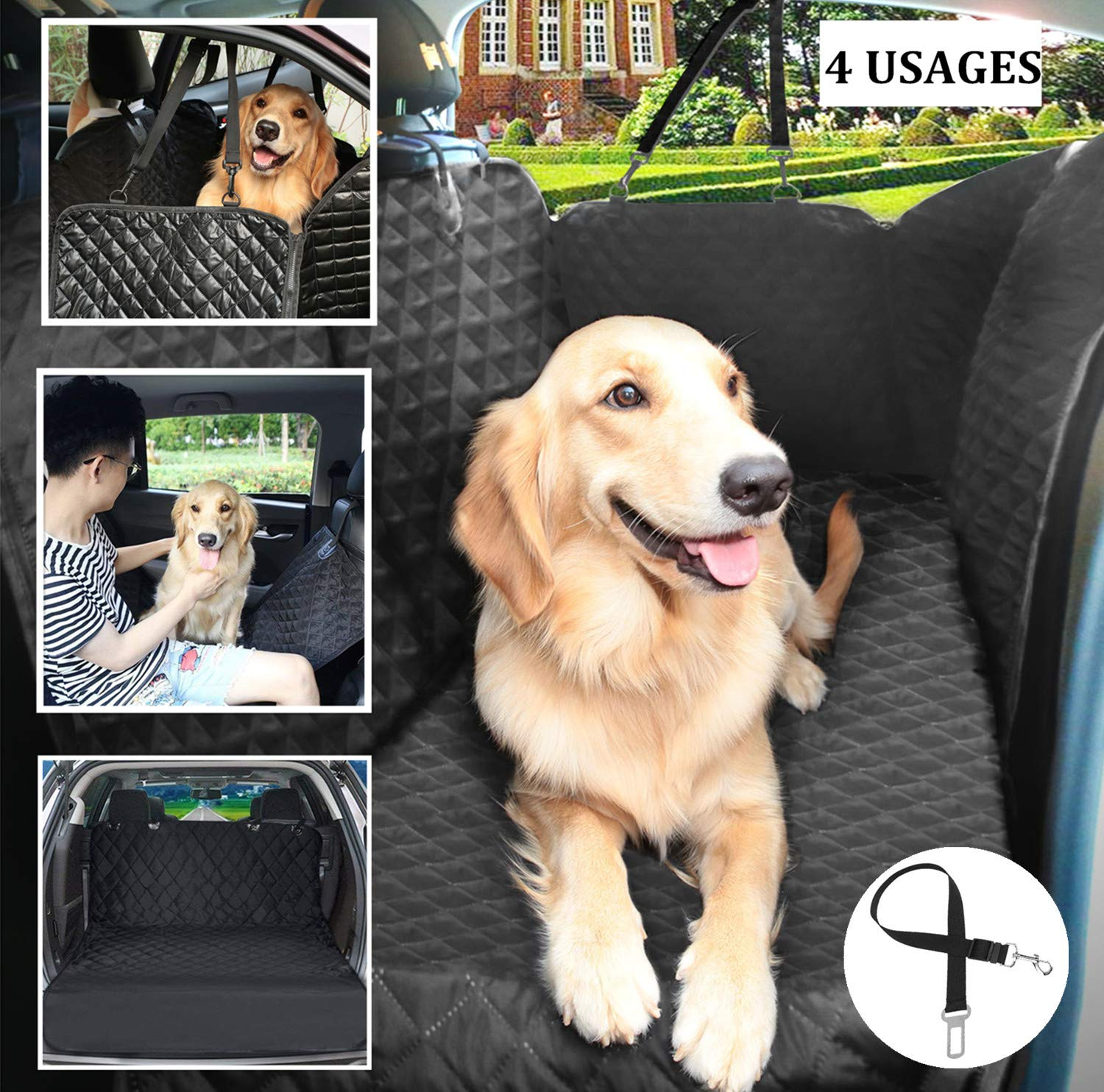Dog Seat Cover for Back Seat Car Rear Seat Covers for Pet Travel Waterproof & Scratchproof & Nonslip Durable Soft Hammock with Eco-Friendly Bagand Dog Seat Belt for Cars Trucks SUV & Van Black