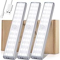 Meromore Draadloze onder kastverlichting, 30-LED bewegingssensor nachtlampje, USB oplaadbare onder kast…