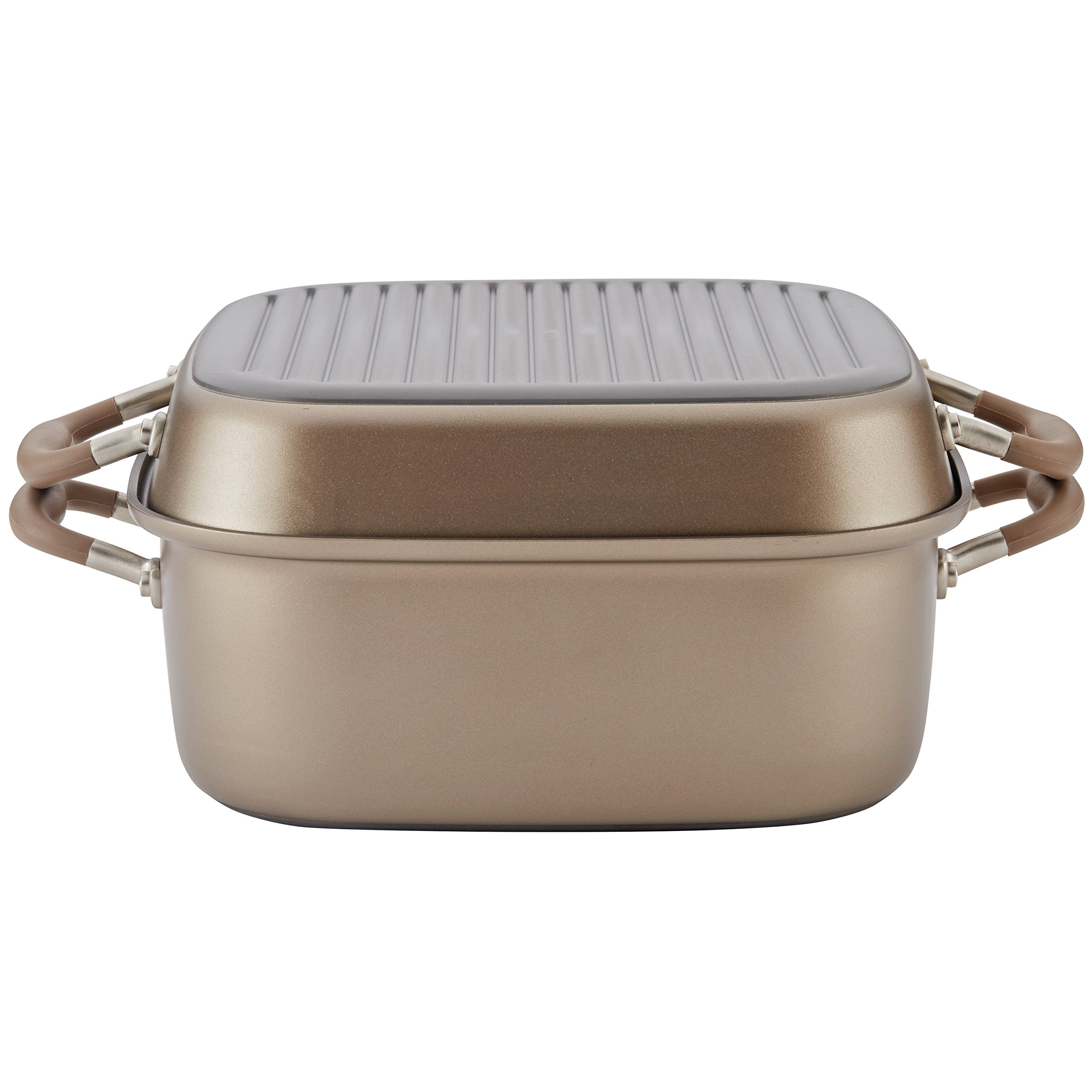Anolon 83869 11'' Advanced Nonstick 2-in-1 Deep Square Grill Pan & Square Roaster 2 Piece Bronze